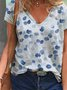 V Neck Printed Short Sleeve Casual Top