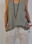 Solid Cotton-Blend Sleeveless Crew Neck Casual Top
