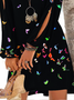 New Women Chic Plus Size Vintage Holiday Boho Butterfly Long Sleeve Casual Dresses