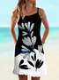 Vintage Floral Printed Statement Plus Size Sleeveless Casual Dresses