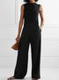 Vintage Plain Statement Plus Size Sleeveless Pockets Casual Jumpsuits