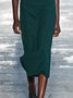 Vintage Plain Cutout Plus Size Sleeveless Crew Neck Casual Dress