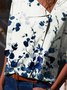 Floral Half Sleeve Printed Polyester Shawl Collar Casual Summer Blue Shirt
