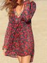Long Sleeve Shift Floral V Neck Dress