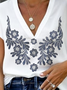 Short Sleeve Floral Shift V Neck Top
