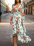 Long Sleeve Holiday Floral Maxi Dress