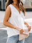 Shift Sleeveless V Neck Plain Top