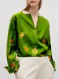 Floral Long Sleeve Vintage V Neck Blouse