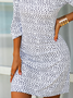 Cotton-Blend Casual Half Sleeve Printed Dress