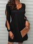 Vintage Plain Plus Size Long Sleeves Crew Neck Casual Dress