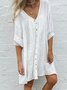 Women Chic Plus Size Vintage Boho Holiday Comfortable Short Sleeve Plain Casual Dresses