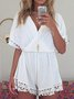 Shift Plain Short Sleeve Casual Holiday Beach Shift Summer V Neck One-Pieces