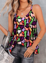 A-Line Sleeveless Geometric V Neck Blouse