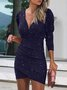 Work V Neck Plain Casual Mini Dress