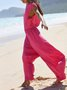 Casual Holiday Beach Summer Sleeveless Solid Shift Jumpsuit