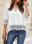 V Neck Half Sleeve Solid Shift Top