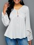 V Neck Holiday Daily Plain Long Sleeve Blouse