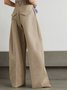 For Work Shift Casual Khaki Wide Leg Pants