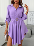 Work Asymmetric Long Sleeve Elegant Mini Dress