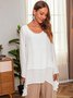 Casual Long Sleeve Plus Size Crew Neck Blouse