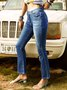 Blue Solid Casual Pants