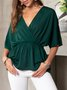 Half Sleeve V Neck Lady Top