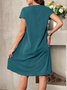 Solid V Neck Shift Casual Dress