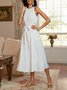 White A-Line Holiday Sleeveless  With Belt Midi Dress