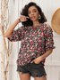 Shift Half Sleeve Floral Casual Top