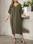 Cocoon Casual Solid V Neck Dress