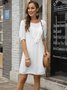White Cotton Solid Casual A-Line Dress