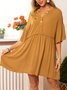 Half Sleeve V Neck Vintage Shift Dress