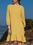 Plain Crew Neck Long Sleeve Dress