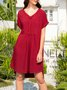 V Neck Daily Solid Dress