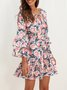 V Neck Swing Beach Midi Dress