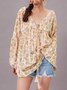 White Casual Long Sleeve Paneled Top