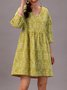Green Floral 3/4 Sleeve A-Line Dress