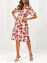 Short Sleeve Floral A-Line V Neck Dress