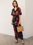Short Sleeve V Neck Shift Floral Maxi Dress